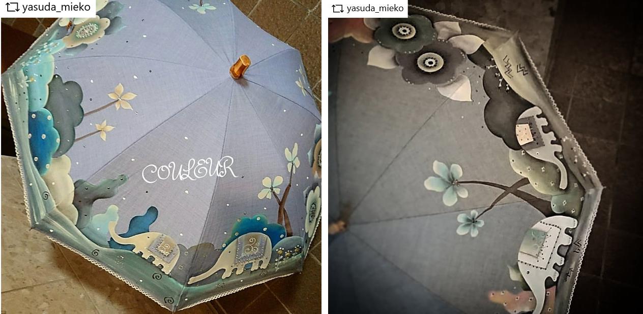 雨の日も気分があがる、オリジナルペイントの手作り傘。安田美恵子先生の作品